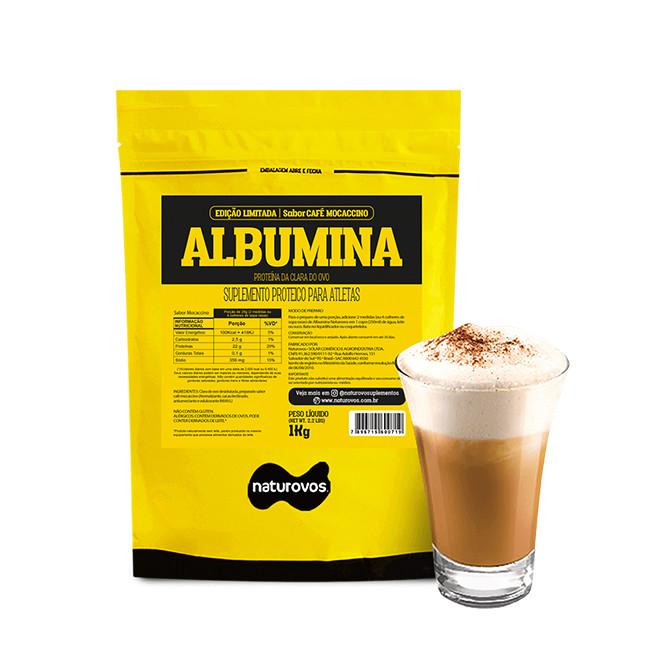 Porção de Albumina (1kg) Café Mocaccino - Naturovos (2 medidas ou 4 colheres rasas de sopa