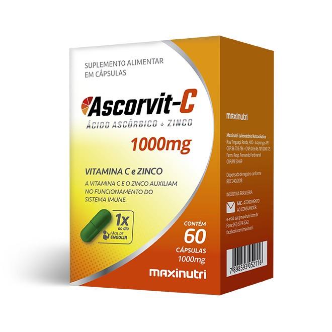 Ascorvit-C 1000mg 60 Cápsulas - Maxinutri