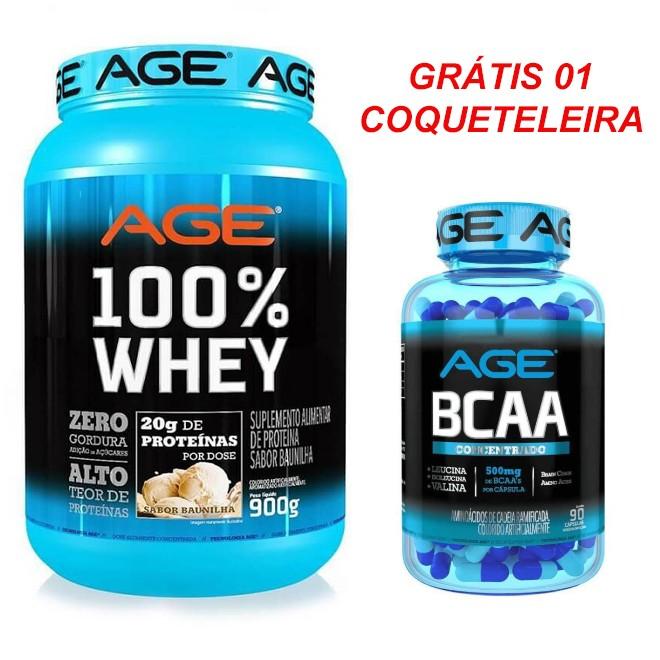 Whey 900g + BCAA 90 Caps AGE - Coqueteleira grátis.