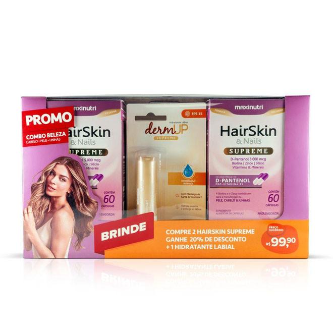 Combo Beleza 02 HairSkin Supreme 60 Cápsulas + Hidratante Labial - Maxinutri