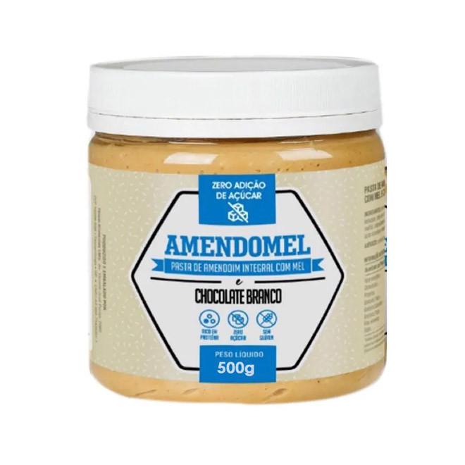 Pasta de Amendoim Integral c/ Chocolate Branco 500g - Amendomel