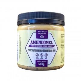 Pasta Amendoim Chocolate Branco e Passas ao Rum 500g - Amendomel